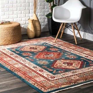nuLOOM Blue Traditional Tribal Diamond Emblems Area Rug - 4' x 6'