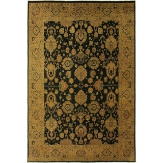 Agra Istanbul Etta Drk.green/Dark Gold Wool Rug (9'11 x 14'2) - 9 ft. 11 in. x 14 ft. 2 in.