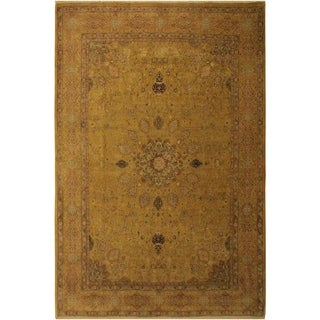 Antique Vegtable Dye Ardbeel Dina Gold/Gold Wool Rug (9'3 x 11'11) - 9 ft. 3 in. x 11 ft. 11 in.