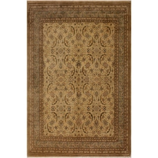 Istanbul Priscill Tan/Lt. Green Wool Rug (8'1 x 9'11) - 8 ft. 1 in. x 9 ft. 11 in.