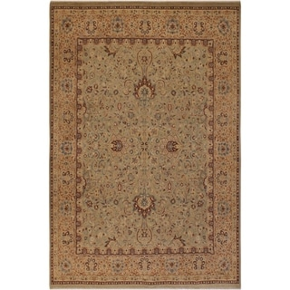 Antique Vegtable Dye Kashan Karyl Lt. Green/Tan Wool Rug (8'1 x 10'3) - 8 ft. 1 in. x 10 ft. 3 in.