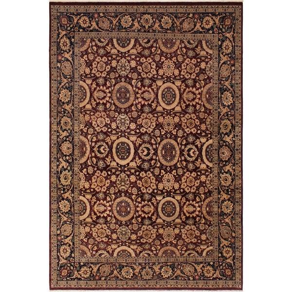 Antique Vegtable Dye Agra Tabriz Latarsha Drk. Red/Drk. Blue Wool Rug (7'11 x 9'11) - 7 ft. 11 in. x 9 ft. 11 in.