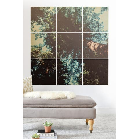 Deny Designs Treetops Wood Wall Mural- 9 Squares - Blue