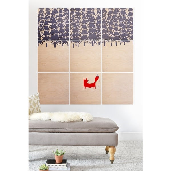 Deny Designs Red Fox in the Forest Wood Wall Mural-9 Squares - Blue