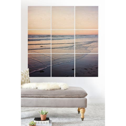 Deny Designs Sunset on the Beach Wood Wall Mural- 9 Squares - Blue