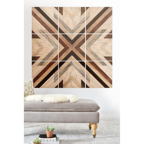 Deny Designs Geometric Wood Pattern Wood Wall Mural- 9 Squares - Black