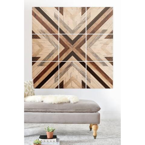 Deny Designs Geometric Wood Pattern Wood Wall Mural- 9 Squares - Black/Brown