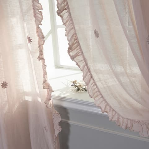 Aurora Home Sheer Side Ruffle French Linen Tie Top Single Curtain Panel