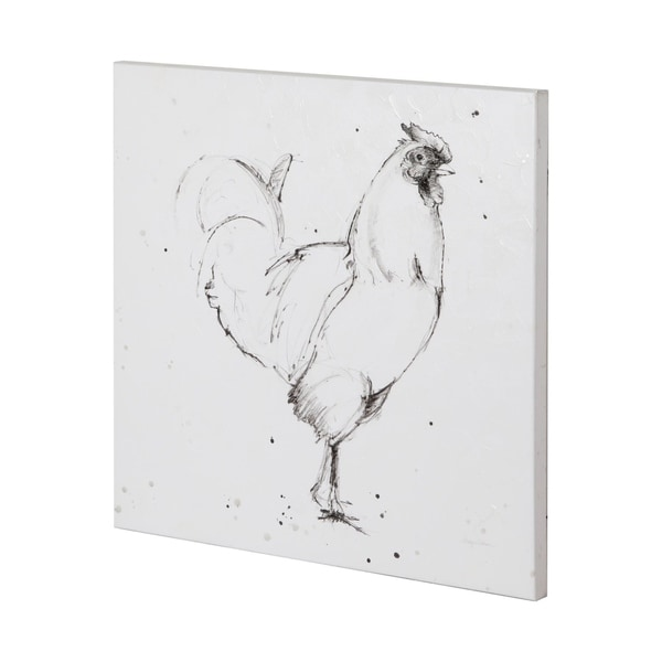 Mercana Rooster II Dark Square (44 x 44) Made to Order Canvas Art