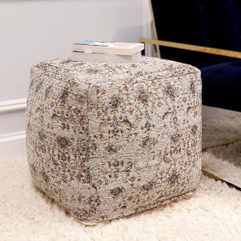 The Curated Nomad Hampshire Taupe Ottoman Pouf