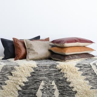 Strick & Bolton Lindi Leather Throw Pillow