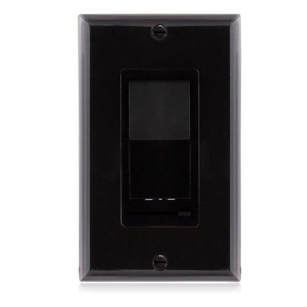 Maxxima 3-Way / Single Pole Decorative LED Dimmer Rocker Switch, 600 Watt, Wall Plate Included, Black
