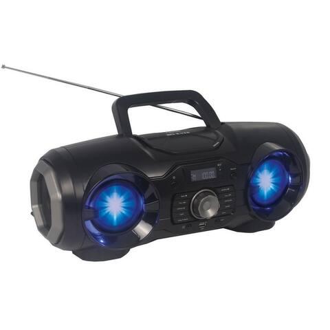 Portable Bluetooth®/MP3/CD/USB/FM PLL Stereo Radio with Disco LED Light