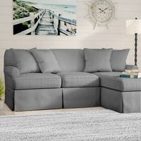 Sunset Trading Horizon T-Cushion Sectional Sofa with Chaise Slipcover| Performance Fabric |  Gray