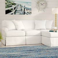Sunset Trading Horizon T-Cushion Sectional Sofa with Chaise Slipcover| Performance Fabric |  White