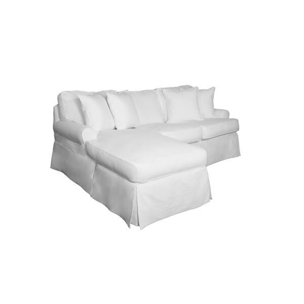 Shop Sunset Trading Horizon Sectional Sofa Slipcover - White ...