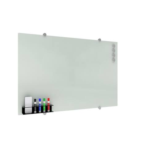 OFM Core Magnetic Glass Whiteboard with Magnetic Marker Caddy