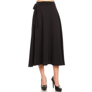 Women's Solid Casual Comfy Lightweight Faux Wrap Skirt