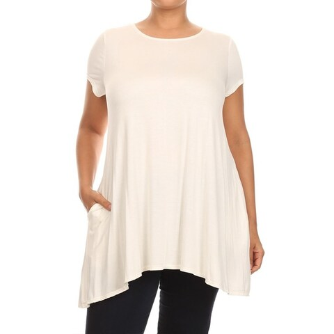 Women's Solid Basic Lightweight Loose Fit Tunic Tee