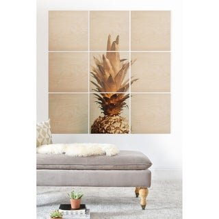 Deny Designs Gold Pineapple Wood Wall Mural- 9 Pieces - Brown