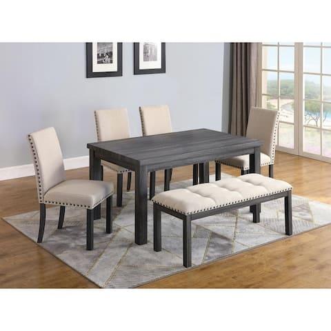 Best Master Furniture 6 Pcs Antique Grey/ Natural Dining Set