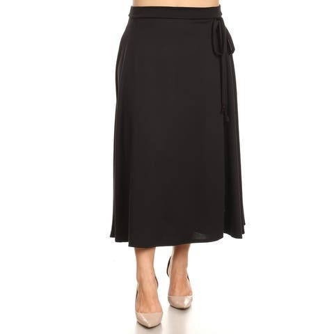 Women's Solid Casual Plus Size Faux Wrap Skirt