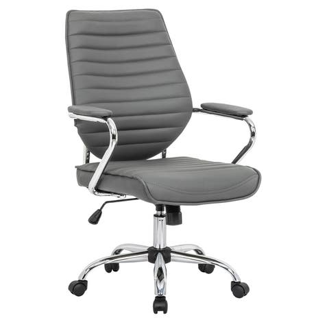 LeisureMod Winchester Swivel Tilt Mid-Back Home Leather Office Chairs