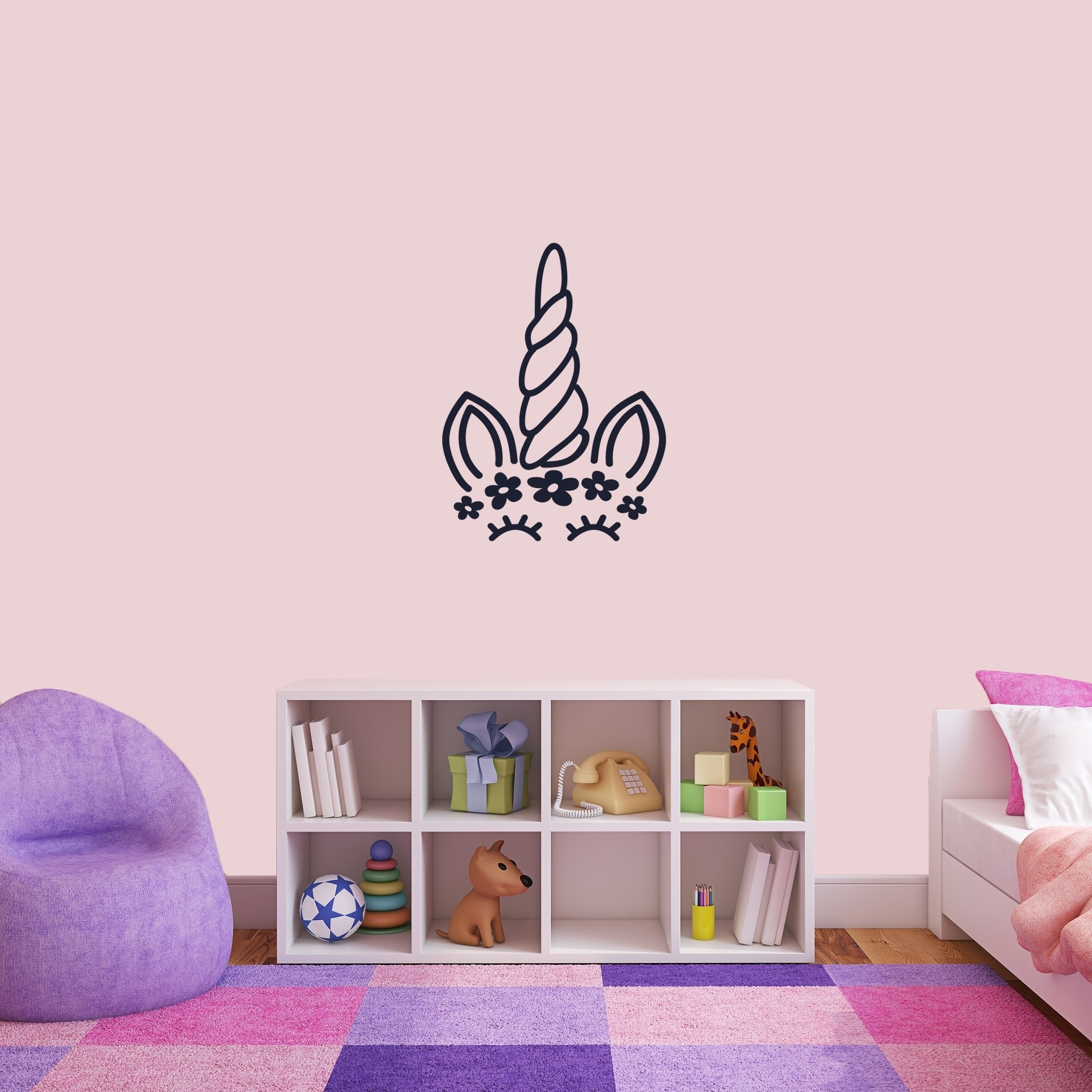 Unicorn Face Silhouette Wall Decal Overstock 25779794