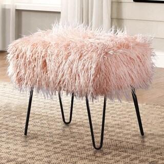 Serenta Mongolian Lamb Shaggy Faux-Fur Ottoman Bench with Hairpin Legs