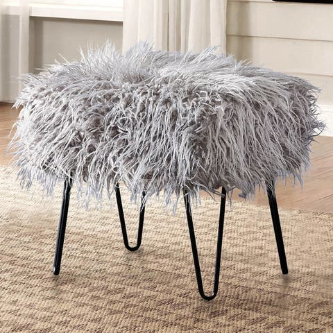 Silver Orchid Sterling Shaggy Faux Fur Ottoman Bench