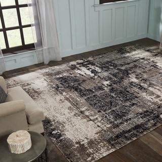 Porch & Den Polyantha Distressed Grey Abstract Indoor/Outdoor Area Rug