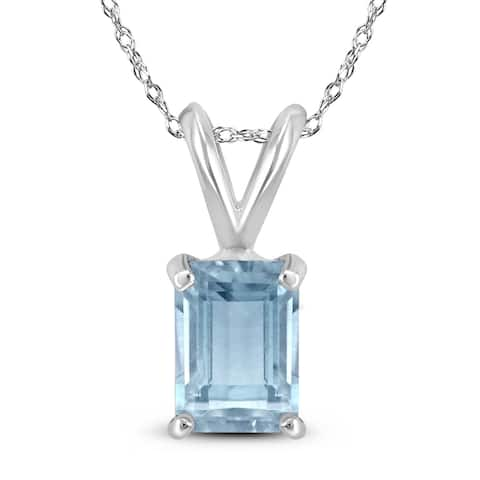 14K White Gold 6x4MM Emerald Shaped Aquamarine Pendant
