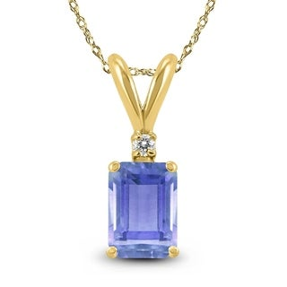 14K Yellow Gold 6x4MM Emerald Shaped Tanzanite And Diamond Pendant