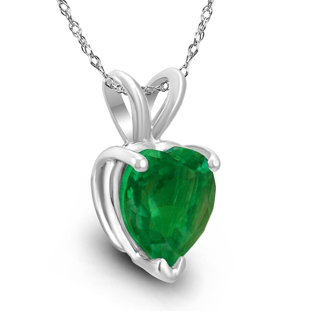14kt White Gold 6//4mm Oval Emerald Pendant A