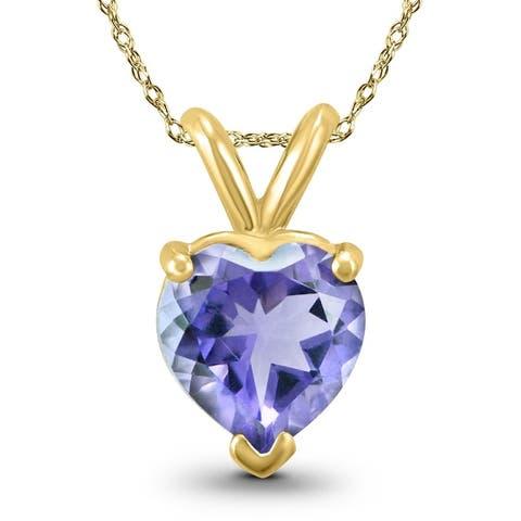 14K Yellow Gold 4MM Heart Tanzanite Pendant