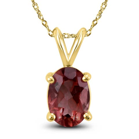 14K Yellow Gold 7x5MM Oval Garnet Pendant