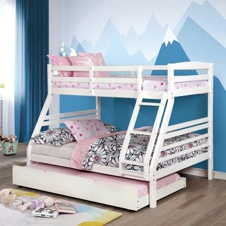 Furniture of America Meyer 2-Piece Twin-Full Bunk Bed with Trundle