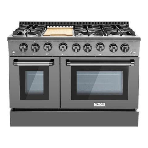 "Thor Kitchen - 48"" Professional Gas Range in Black Stainless Steel"