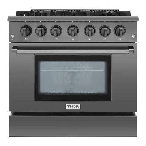 "Thor Kitchen - 36"" Professional Gas Range in Black Stainless Steel"