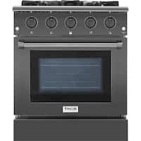 "Thor Kitchen - 30"" Professional Gas Range in Black Stainless Steel"