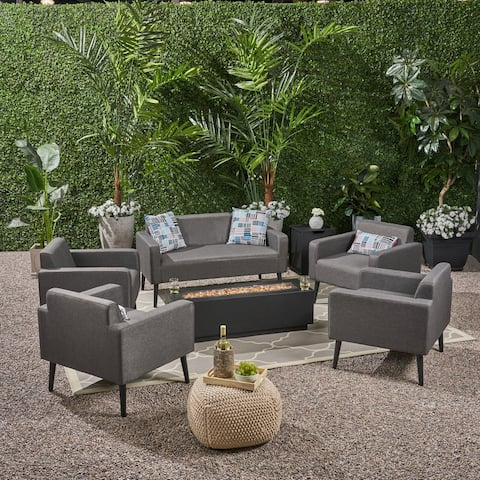 Alvin Outdoor 7 Piece Upholstered Chat Set and Iron Fire Table by Christopher Knight Home