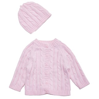 Cable Knit Baby Cardigan with Matching Beanie