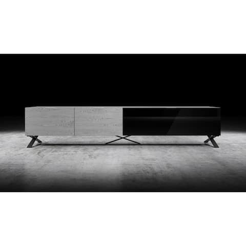 "B-Modern Influencer 90"" Grey Oak Modern IR Glass TV Stand"