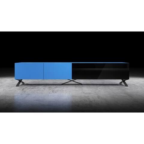 """B-Modern Influencer 90"""" Matte Blue Modern IR Glass TV Stand"""