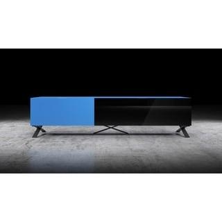 """B-Modern Influencer 75"""" Matte Blue Modern IR Glass TV Stand"""