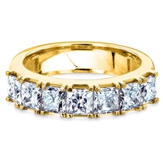 Link to Annello by Kobelli 14k Gold 1-3/4ct.tw Seven Princess Moissanite Women's Wedding Band (4.5mm) Similar Items in Rings