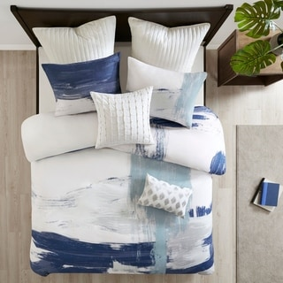 INK+IVY Heather Navy Blue Cotton Brushstroke Print Duvet Cover Set