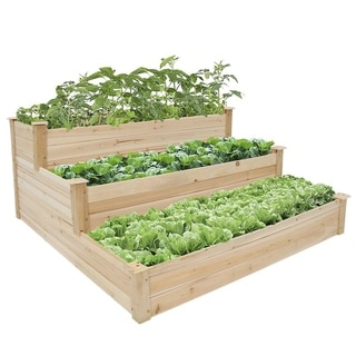 Kinbor 3-Tier Wooden Raised Garden Bed, Elevated Garden Planter Box Garden Bed Kit for Vegetable Herb Flower