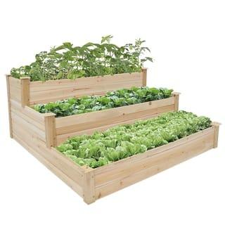 Kinbor 3-Tier Wooden Raised Garden Bed Elevated Planter Kit Vegetable
