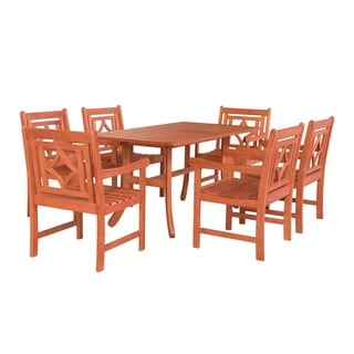 Malibu Outdoor 7-piece Wood Patio Curvy Legs Table Dining Set